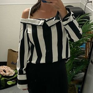 Topshop striped black white long sleeve off the shoulder blouse top 4 Small